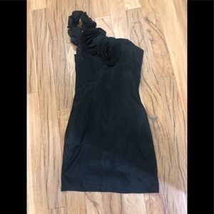 Black floral one shoulder dress